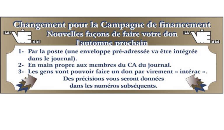 Changement campagne financement