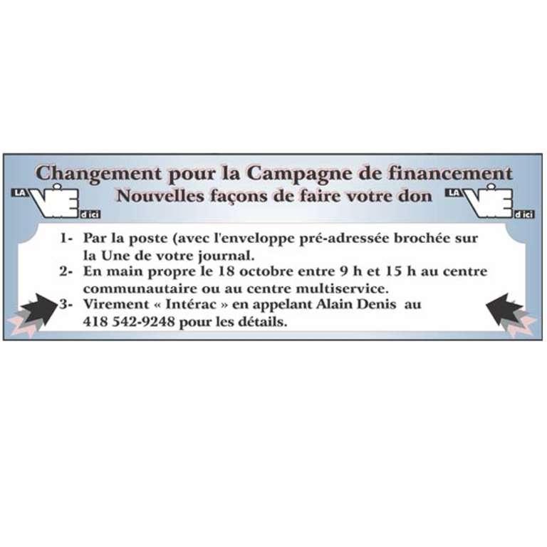 Campagne de financement La Vie d'Ici