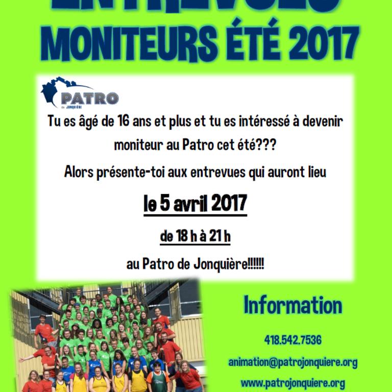 MONITEURS ÉTÉ 2017 DEMANDÉ AU PATRO