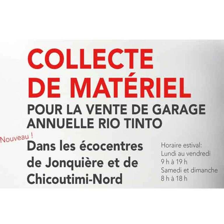 Collecte pour vente de garage Rio Tinto
